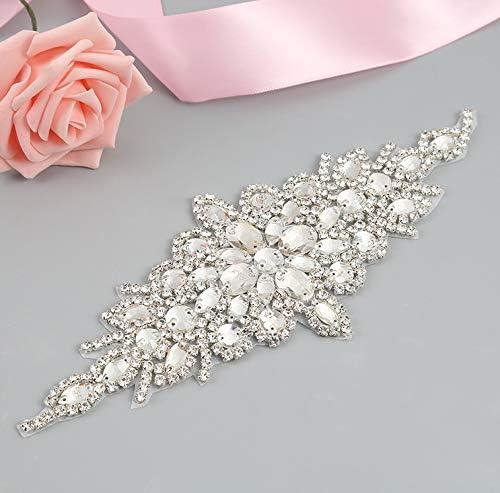 FidgetFidget Rhinestone Crystal Bridal sash Applique Bridal Belt Wedding Accessories H055 Silver 5 Pieces