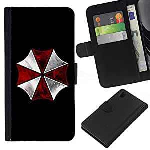 BearCase / Cuero de la tarjeta la carpeta del tirón Smartphone Slots Protección Holder /// Sony Xperia Z1 L39 /// Umbrella Corp Evil