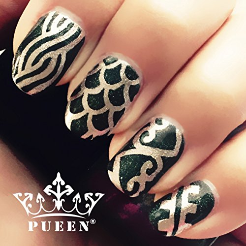pueen vinyl nail stencil set 2 0916 pack of 8 sheets