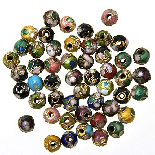 Monrocco 50 Pcs Mixed Color Round Enamel Cloisonne Beads 6mm Metal Flower Loose Spacer Beads for Bracelets Jewelry Making