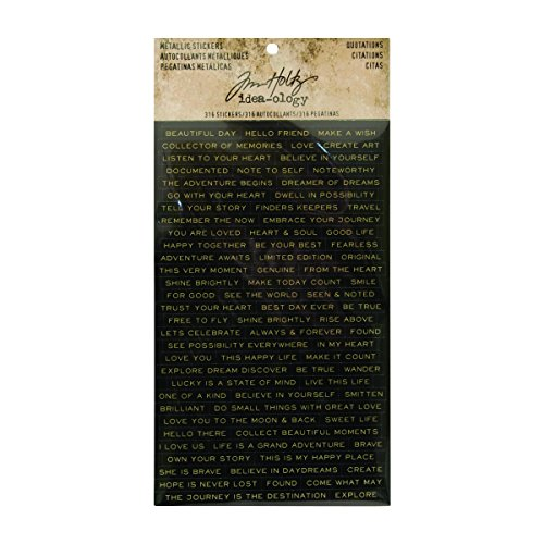 (Quotations Metallic Stickers by Tim Holtz Idea-ology, 0.25 Inch Tall Each, 316 Word Stickers (TH93559))