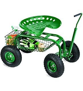 Superieur Rolling Scoot N Do Garden Seat Powder Coated Tubular Steel Green   54½u0027