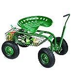 Plow & Hearth Rolling Scoot-N-Do Garden Seat - Powder Coated Tubular Steel