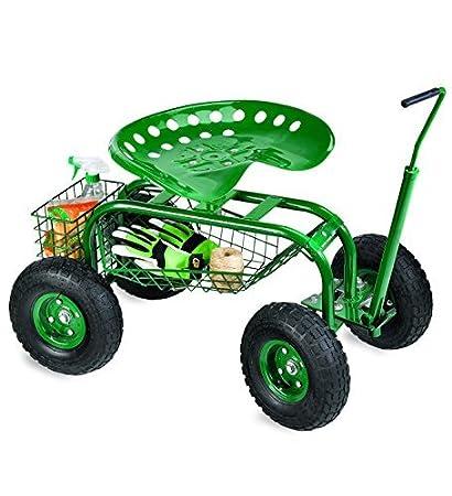 Gentil Rolling Scoot N Do Garden Seat Powder Coated Tubular Steel Green   54½u0027
