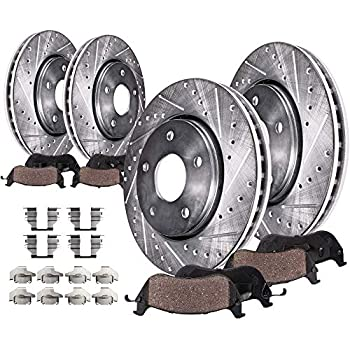 Front+Rear 4 Drilled Rotors /& 8 Ceramic Pads for 2004-2010 BMW X3 E83 all model