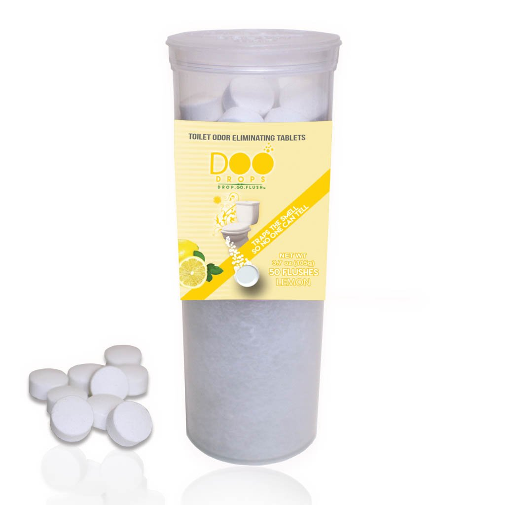 Toilet Odor Eliminating Tablets, 50 Lemon Scented with Pop Top- Traps The Smell/Home & Office, Try Our New Poo Powder with 10 Times The Deodorizing Power