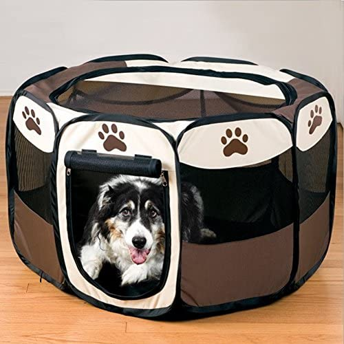 LOOYUAN Portable Doggie Play Pen Pet Playpen Foldable Portable Dog Cat Puppy Exercise Kennel