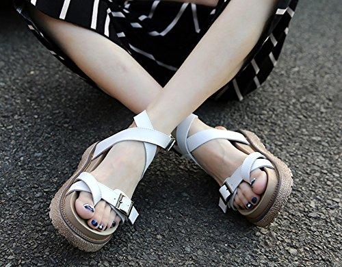 PU 43 wealsex Sandales Femmes Plateforme Plates Grande Taille Cuir Spartiates 40 Boucles Blanc RdCIqdUP