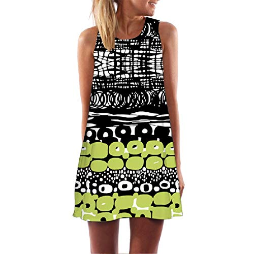 Wintialy Vintage Boho Women Summer Sleeveless Beach Printed Short Mini Dress (X-Large, Z03-Green)