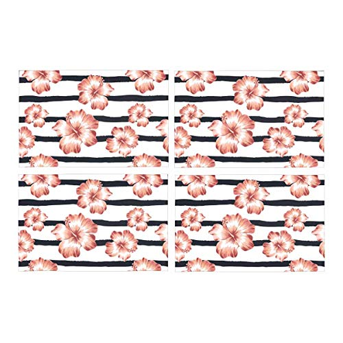 - InterestPrint Pink Hawaiian Hibiscus Flowers 0n Stripes Tropical Design Washable Polyester Fabric Placemats for Dining Room Kitchen Table Decoration, 12 x 18 Inches Place Mats Set of 4