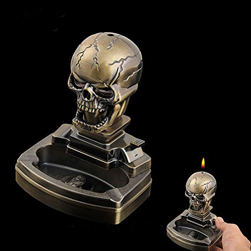 Piioket Skull Skeleton Shaped Novelty Cigarette Cigar Lighter Refillable Butane Gas Lighter with Ashtray Ash Tray