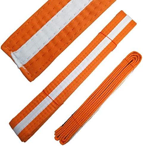 Ace 格闘技用品 ホワイトストライプカラーベルト オレンジ