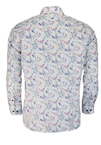 OLYMP Luxor Modern Fit Hemd Extra Langer Arm Muster Weiß AL 69