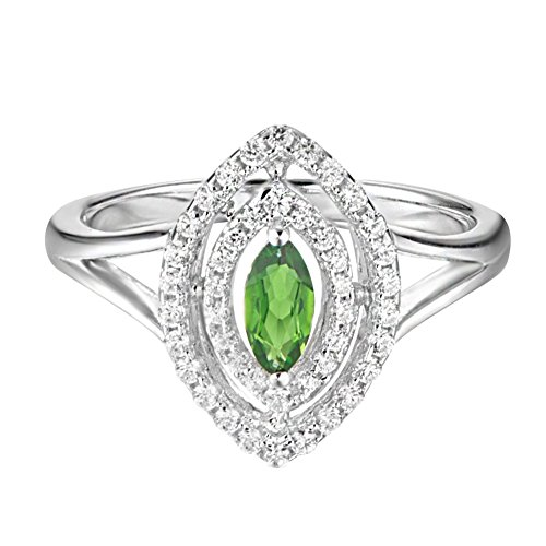 - Carleen Sterling Silver 0.75 Carats Marquise Cut Diopside Ring Engagement Wedding Rings for Women Cubic Zirconia Rings for Girls, Size 8