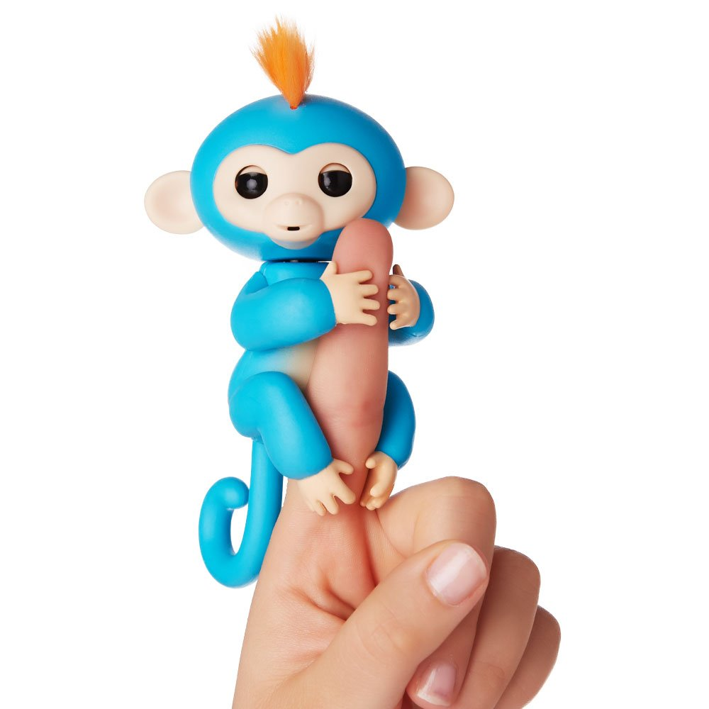 Fingerlings Interactive Baby Monkey Boris Blue with Orange Hair By WowWee