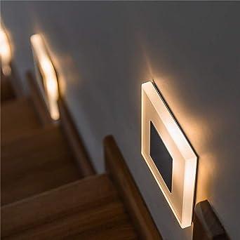 Interior escalera decoración noche luz moderna led lámpara de pared @ 3W blanco frío: Amazon.es: Iluminación