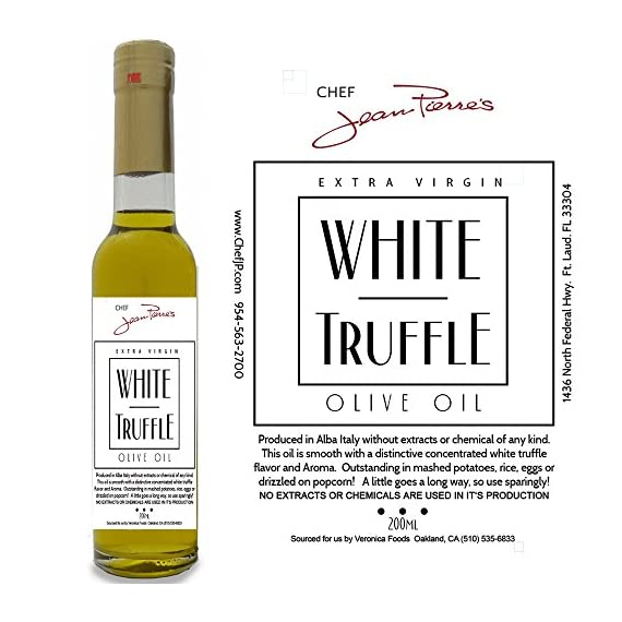 White Truffle Oil SUPER CONCENTRATED 200ml (7oz) 100% Natural NO ARTIFICIAL ANYTHING 1 A 'tea method' is utilized to steeps the ripe truffles for extended periods of time in olive oil Real shaved truffle are infused with the first pressing of Olive only a few hours of harvest Big Truffle flavor, not chemically produced like most truffle oil on the market