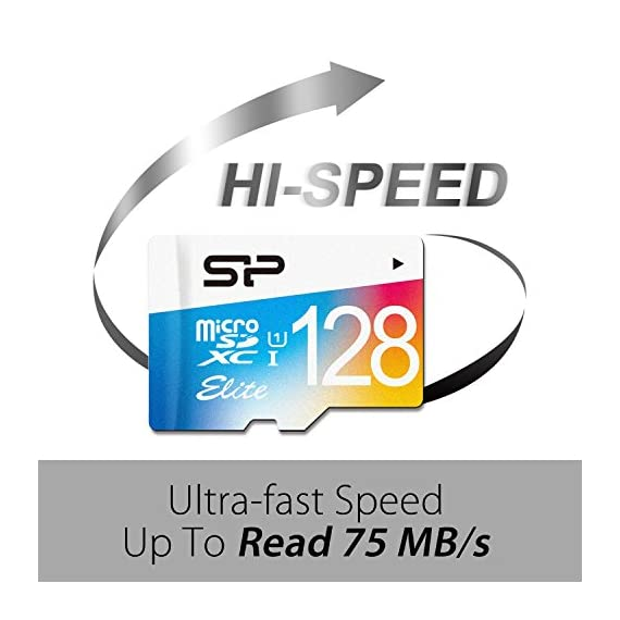 Silicon Power 128GB MicroSDXC UHS-1 Class10, Elite Flash memory Card with Adapter (SP128GBSTXBU1V20BT) 3 Great for mobile phones, smartphones, Android tablets, tablet PCs, DSLR, HD camcorder. Capture high-quality images and extended lengths of stunning 1080P full-HD video with any Micro SDHC UHS-1 compatible devices. Compatible with SDXC UHS-1 enabled host devices.