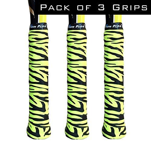 Alien Pros Tennis Racket Grip Tape (3 Grips) - Precut and Dry Feel Tennis Grip - Designer Tennis Overgrip Grip Tape Tennis Racket - Wrap Your Racquet for High Performance (3 Grips, Neon Tiger)