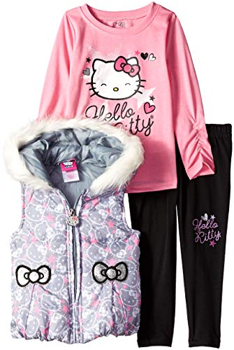 - Hello Kitty Toddler Girls' 3 Piece Tee, Vest, and Legging Set, Gray, 2T