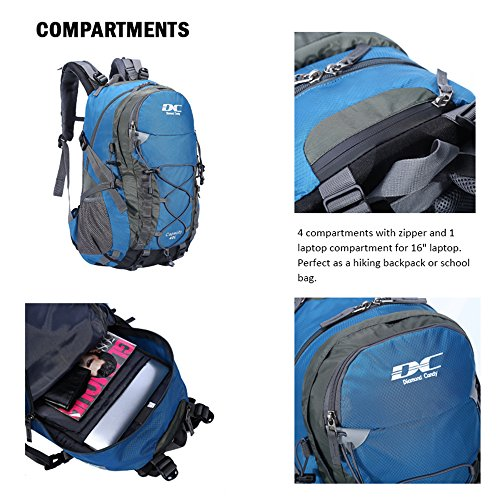 Diamond Candy Hiking Backpack 40L Waterproof Outdoor Lightweight Travel Backpacks for Men and Women with Rain Cover, Bag for Mountaineering Camping Climbing Cycling Fishing (Blue) by Diamond Candy (Image #4)