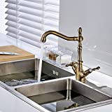 Fapully Antique Inspired Kitchen Sink Faucet Wall Mount Solid Brass Kitchen Fixtures Kitchen Metal Basin Faucet Two Holes and Handles Mixer Taps Ceramic Valve Vintage Curve Tall Spout