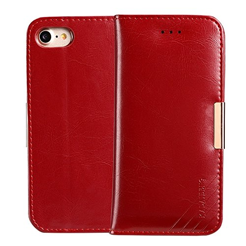 For cellphone Cases, KALAIDENG ROYALE Series for iPhone 7 TPU Magnetic Horizontal Flip Genuine Leather Case with Card Slots & Holder ( Color : Red ) Kalaideng Leather
