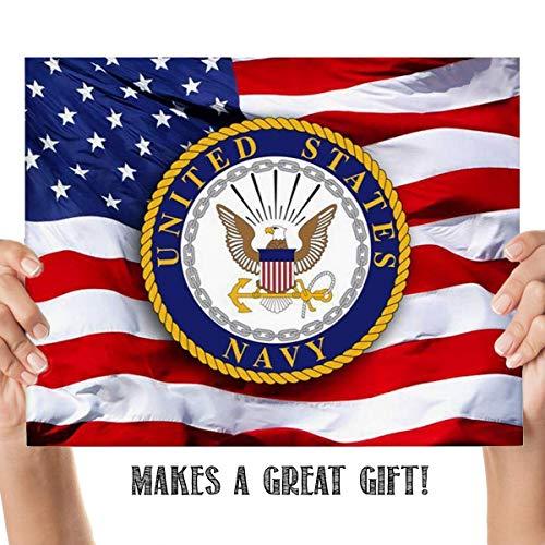 (US Navy Emblem on USA Flag- 8 x 10