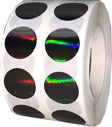 Black Holographic Circle Dot Stickers, 1/2 Inch Round, 1000 Labels on a Roll