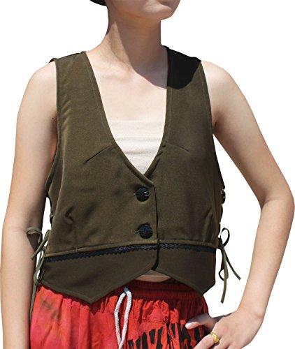 RaanPahMuang Renaissance Ladies Crop Top Vest with Lace Trim and Side Tie Eyelets, XX-Large, (Renaissance Vest Womens)