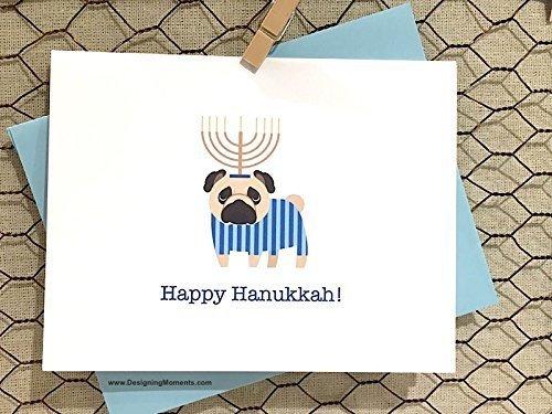 (Pug Hanukkah Cards - Jewish Holiday Menorah Note Cards - DMPUG)