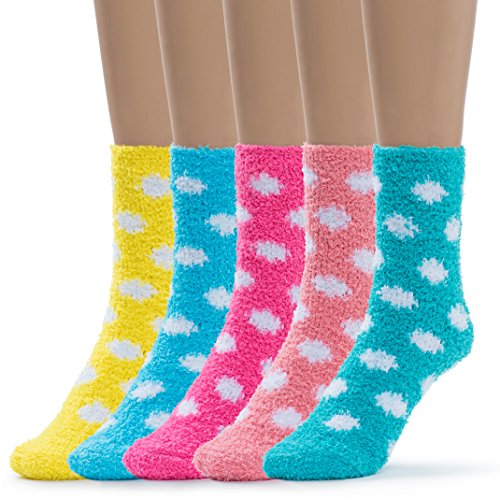 Socks Dot Fuzzy (Silky Toes Womens 5 Pairs Warm Fuzzy Slipper Casual Socks (3-Polka Dot))