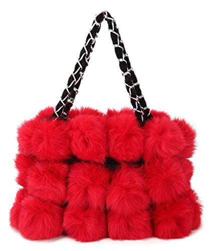 baguette De bandoulière portés Lapin Sacs main Sacs portés Vogueearth Chaud Cabas Sacs Sac Sacs Main Pochettes s Plus menotte Sacs Rouge épaule Fourrure Hiver Femme'Réel à H5Uq1