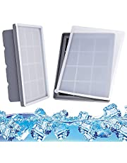 Ice Cube Trays with Lids 2 Pack, Food Grade Silicone Ice Mold Maker, Silicone Ice Cube for Frozen Baby Food, Drinks, Coffee and Fruit, Gray