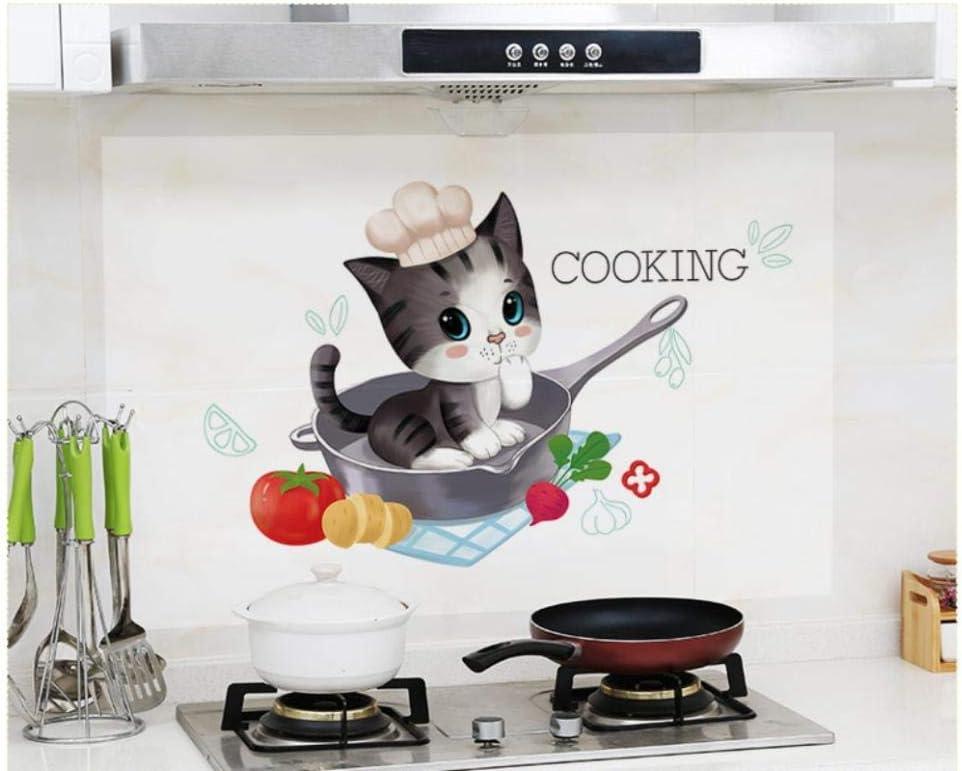 Pegatinas De Pared A Prueba De Aceite De Cocina 3D, Cocina De Alta Temperatura Impermeable Gabinete De Azulejos Campana Extractora Fondo De Pantalla Restaurado 60X90 Cm