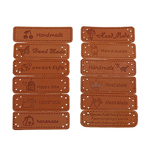 """ISKYBOB Set of 24 """"Handmade"""" Embossed Tag with Holes for Sewing & Craft DIY"""