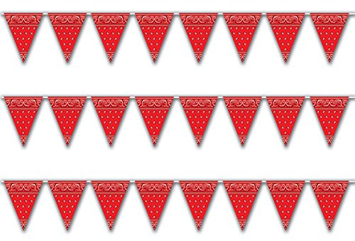 Western Themed Party Decorations - Beistle S57720AZ3, 3 Piece Bandana Pennant Banners, 11'' x 12'