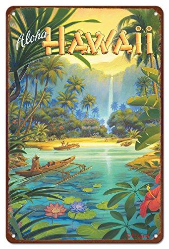 Hawaii Sign (8in x 12in Vintage Hawaiian Tin Sign - Aloha from Hawaii by Kerne Erickson)