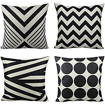 all smiles 4pack decorative sofa throw pillow case cushion covers suqare cotton linen black