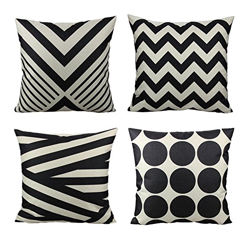Round Decorative Pillow Set - All Smiles 4-Pack Decorative Throw Pillow Case Accent Cushion Covers Outdoor Suqare Cotton Linen 18x18 for Sofa Paito Couch Bed Room,Black Tan Stripes Geometric
