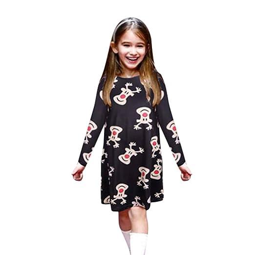 ❀ Vestidos Mujer Verano 2018 Tallas Grandes Fiesta Vestido De Estampado De Animales De Dibujos Animados De Navidad Mommy & Me Niños Niñas De Manga Larga: ...
