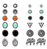 #9: Thunaraz 12 Pairs Boho Earrings Antique Silver Plated Stud Earrings Turquoise Crystal Earring Sets for Women