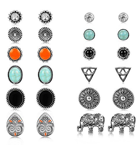 Thunaraz 12 Pairs Boho Earrings Antique Silver Plated Stud Earrings Turquoise Crystal Earring Sets for Women