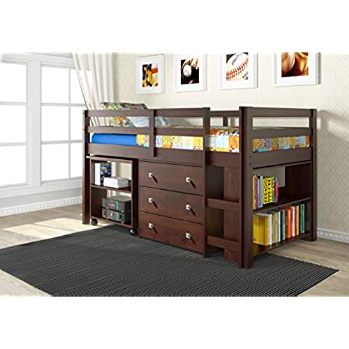 DONCO Kids 760-CP Low Study Loft Bed Dark Cappuccino  sc 1 st  Amazon.com : loft beds with storage  - Aquiesqueretaro.Com