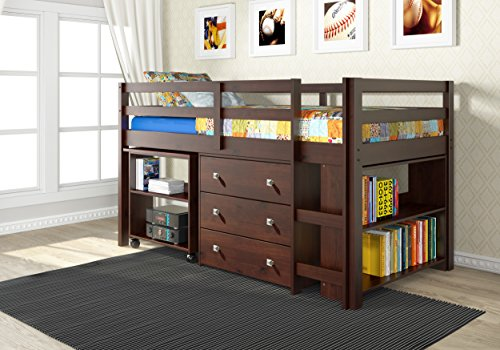 DONCO Kids 760-CP Low Study Loft Bed, Dark Cappuccino (Full Size Captains Bed With Under Bed Storage)