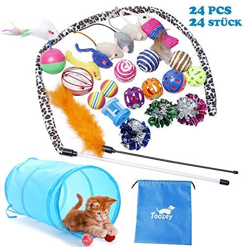 Katzen Spielzeug Toozey Katzenspielzeug Set mit Katzentunnel, Bälle, Federspielzeug, Plüschspielzeug, Spielzeugmäuse…