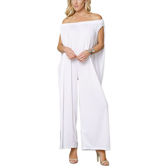 689b92ae4d7 Off The Shoulder Sleeveless Wide Leg Pant Jumpsuit Plus Size Women Long  Rompers (Color