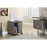 Dark Taupe Reclaimed-Look 2 Drawer Computer Stand/ Castor