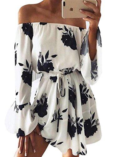 sandals JINTING Women's Strapless Boho Lemon Print Beach Party Swing Mini Dress Summer Sundress Size L (Black)