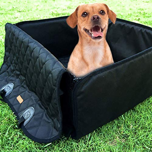 IAMCOOL 2019 Pet Shock Mat,Pet Front Seat Cover Pet Booster Seat 2 in 1 Dog Seat Cover for Cars Waterproof (Free Size, Black)